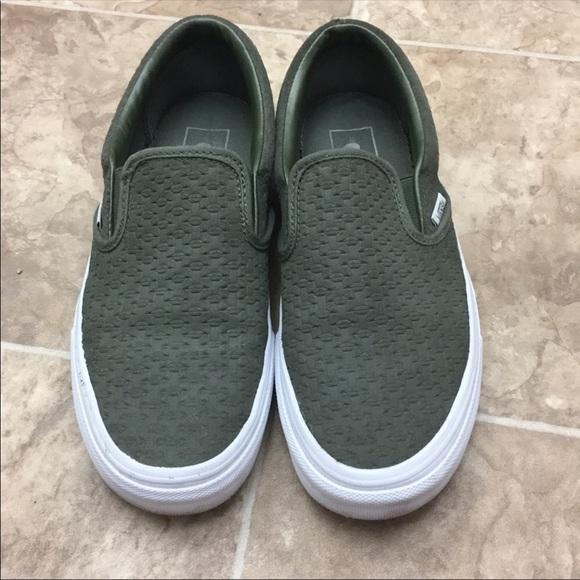Vans Olive Green Suede Slip Ons